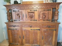 Hand carved German shrank (hutch/cabinet) in Fort Lewis, Washington