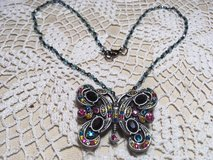 Vintage Butterfly Pendant Bling on Vintage Blue Crystal Bead Chain Necklace in Houston, Texas