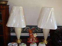 Two Cream/Gold Accent Lamps with new shades in Mountain Home, Idaho