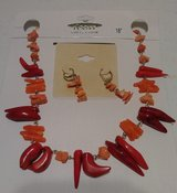 Orange necklace set in Bellaire, Texas