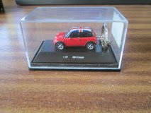 ' Mini Cooper ' 1/87 scale in presentation case in Lakenheath, UK