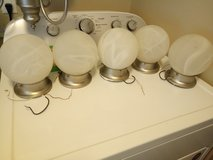 five brushed nickel and frosted globe cieling lights in Lake Charles, Louisiana