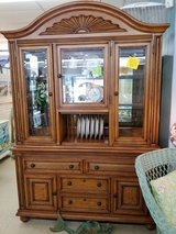 Wicker, Wood & Glass China Cabinet  #2286-340 in Camp Lejeune, North Carolina