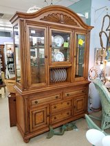 Wicker, Wood & Glass China Cabinet #2286-340 in Wilmington, North Carolina