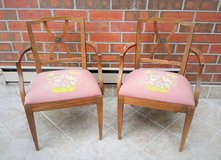 2 Vintage 1950s Drexel Upholstered Wood Armchairs in Oswego, Illinois