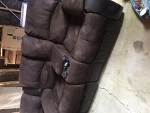 Threepiece sectional recliner microfibre couch. in Hemet, California