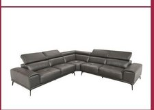 United Furniture - Freiburg Sectional - Leather - including delivery in Antraciet and Cognac in Grafenwoehr, GE