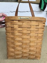 Longaberger Signed Handmade Basket Letter Mail Wall Basket w/ Leather Handle in Naperville, Illinois