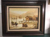 P. Wong Asian Junk Boats Oil Painting in Naperville, Illinois