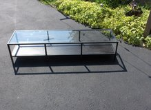 "59 "" X 16 "" X 12 1/2"" TALL GLASS TOP BIG SCTEEN TV BASE in Naperville, Illinois"
