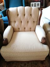 Premium Vintage Creme and Wood Padded Armchair in Lackland AFB, Texas