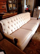 Premium Vintage Creme and Wood 3-Cushion Sofa in Lackland AFB, Texas