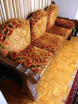 Handcarved Vintage Mediterranean 3-Cushion Sofa in Lackland AFB, Texas