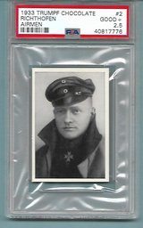 SUPER RARE AUTHENTIC 1933 RED BARON WW1 HERO CHOCOLATE CARD PSA GRADED in Ramstein, Germany