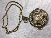 Fun Vintage Pendant Necklace Round Gold Metal with Rhinestones Glace Perfume Holder on Vintage C... in Kingwood, Texas