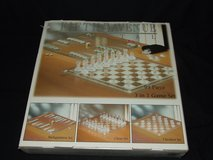 3 in 1 Glass Game Set, Chess Checkers Backgammon New in Box in Westmont, Illinois