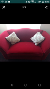 Red Velvet Couch and Love Seat in Temecula, California