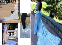 Formal Dress Silver Sequins with train in Fairfield, California
