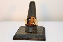 Mens 10K Yellow Gold Roman Soldier Carved Tiger's Eye Ring, Size10.5, 9.4Grams in Camp Lejeune, North Carolina