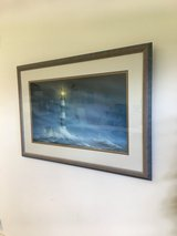 """Jim Booth framed lighthouse print """"Night Watch"""" in Camp Lejeune, North Carolina"""