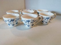 Churchill Georgian Collection Blue and White Cups and Saucers, 6 saucers, 6 cups in Quantico, Virginia