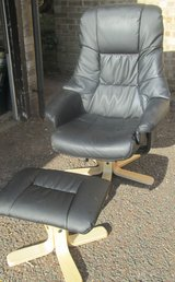 FAUX LEATHER OFFICE CHAIR AND FOOTSTOOL in Lakenheath, UK