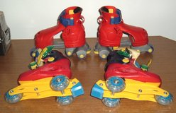 2 Pairs Fischer Price 1-2-3 Adjustable Grow with Me Roller Skates Fits Size 7-9 7 8 9 in Joliet, Illinois
