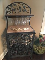 Wrought Iron Wine Cabinet with Granite Tops-holds 30 bottles and over 20 wine glasses in Converse, Texas