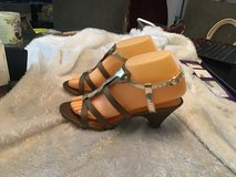 "New!  Gladiator Sandals size 7M.  Brown with gold trim   2 1/2"" heel in Yucca Valley, California"