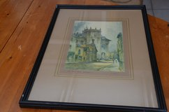 """old Water colour by F Robson the old town hall Abingdon, framed glass 53cm X 38cm (21"""" X 15"""") in Lakenheath, UK"""