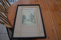 """Old Water colour by Geo H Downing Abinger Hammer Surrey framed glass 53cm X 38cm (21"""" X 15"""") in Lakenheath, UK"""