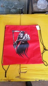 Grim Reaper drawstring bag in 29 Palms, California