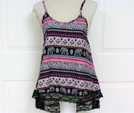 Live4Truth Med Purple Black Floral Flower Knit Top Blouse Women Tank Juniors Young Ladies Paisle... in Kingwood, Texas