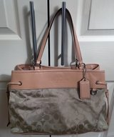 REAL COACH CLOTH & TAN LEATHER PURSE, LIKE NEW in Lakenheath, UK