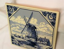 Delft Porcelain Trivet Blue White Windmill Hot Pad Holland Dutch Collectible 6x6 Kitchen Pot Pan... in Kingwood, Texas