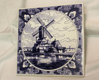"1999 Porcelain Trivet Blue White Windmill 589 Hot Pad 6"" x 6"" Holland Dutch Collectible Kitchen ... in Kingwood, Texas"