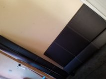Double bed dark brown faux leather with  mattress or out. in Lakenheath, UK