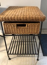 Wicker and iron side table in Elgin, Illinois
