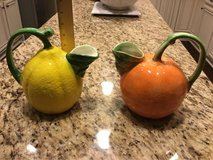 Orange & Lemon Fruit Ceramic Pitcher with Tree Stem Handles &  Leaves Spout-made in Italy  -bran... in Converse, Texas