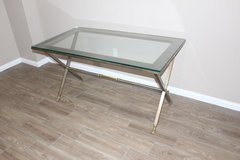 Sleek modern Desk with Glass top brass base NOW available! in Spring, Texas