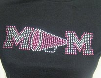 NWOT Cheer MOM Black Blue M Fitted T-Shirt Megaphone Bling Bead Sequins Pom Pom in Kingwood, Texas