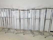6 - Commercial Square Tubing 4-way Clothing Racks in Pearland, Texas