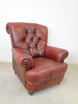 Burgundy Leather Traditional Style Armchair in Spring, Texas