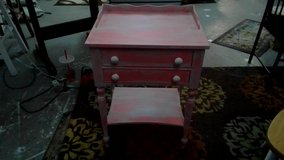 end table / side table caribean salsa and white distressed   2 drawers in Wilmington, North Carolina