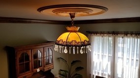 Antique bent slag glass hanging lamp with crystals in Tinley Park, Illinois