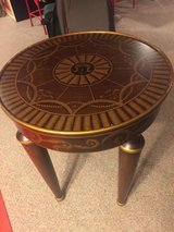 Round End Side Table - Burgundy & Gold in Naperville, Illinois