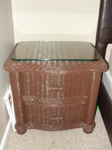 BROWN PAINTED WICKER BED SIDE DRAWER WITH GLASS TOP in Camp Lejeune, North Carolina