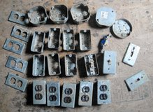 Galvanized Metal Electrical Boxes 2 & 1 gang toggle switch plates outlet covers 35 pcs Used in Byron, Georgia