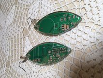 Earrings Computer Circuit Boards Double Sided Unique Green Silver in Kingwood, Texas