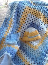 Crochet baby blanket, baby booties and beanie in Fort Hood, Texas